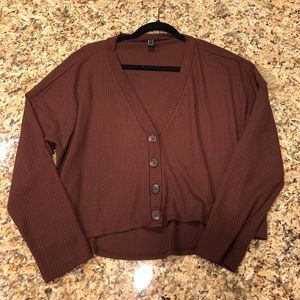 Cropped Brown button sweater